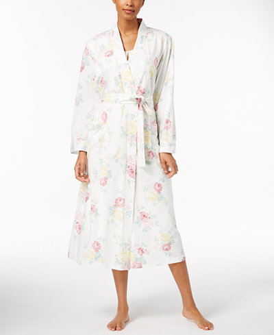 Charter Club Floral-Print Lace-Trim Robe, Created for Macy's