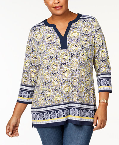 Charter Club Plus Size Printed Tunic, Created for Macy's
