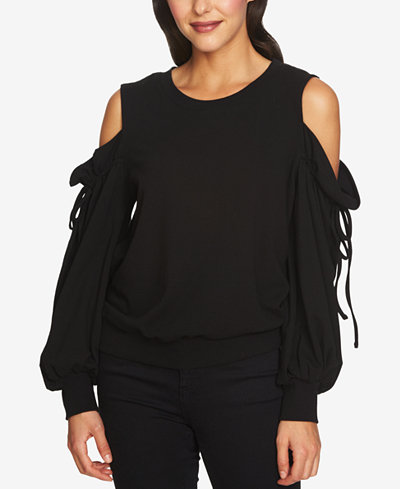 1.STATE Draped Cold-Shoulder Drawstring Top