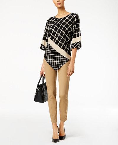 Alfani Printed Angled-Hem Top & Bi-Stretch Skinny Pants, Created for Macy's