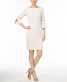 Calvin Klein Imitation-Pearl-Trim Sheath Dress, Regular & Petite