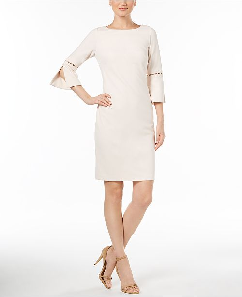 Calvin Klein Imitation Pearl Trim Sheath Dress