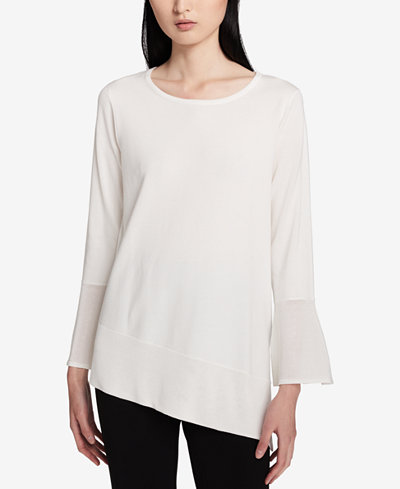 Calvin Klein Bell-Sleeve Asymmetrical Sweater