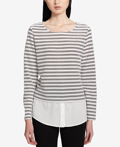 Calvin Klein Printed Layered-Look Top