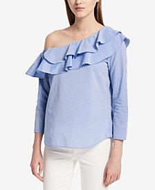 Calvin Klein Ruffled One-Shoulder Top