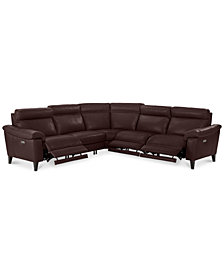 "CLOSEOUT! Pirello 5-Pc. ""L"" Shaped Leather Sectional Sofa with 3 Power Recliners with Power Headrests and USB Port, Created for Macy's"