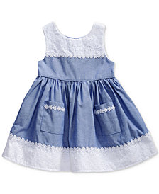 Sweet Heart Rose Chambray & Eyelet Dress, Baby Girls