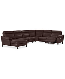 CLOSEOUT! Pirello 6-Pc. Leather Sectional Sofa With Chaise, 1 Power Recliner with Power Headrest and USB Port, Created for Macy's
