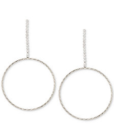 Touch of Silver Crystal Gypsy Hoop Earrings in Silver-Plate