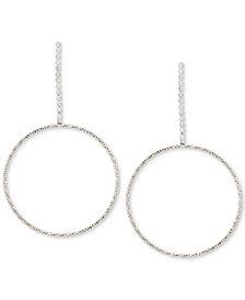 Touch of Silver Crystal Gypsy Hoop Earrings in Silver-Plate