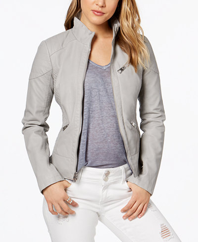GUESS Faux-Leather Quilted Moto Jacket - Coats - Women - Macy's : quilted moto jacket - Adamdwight.com