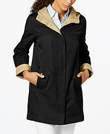 Jones New York Hooded Colorblocked Raincoat