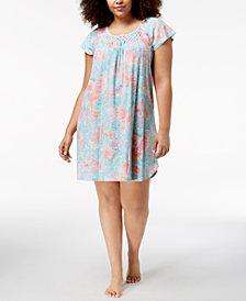 Miss Elaine Plus Size Knit Floral-Print Nightgown