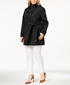 MICHAEL Michael Kors Plus Size Hooded Belted Raincoat