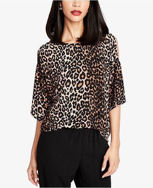 9453bd74b08ca ... RACHEL Rachel Roy Leopard-Print Cold-Shoulder Top