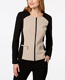 Kasper Stretch Crepe Colorblocked Jacket