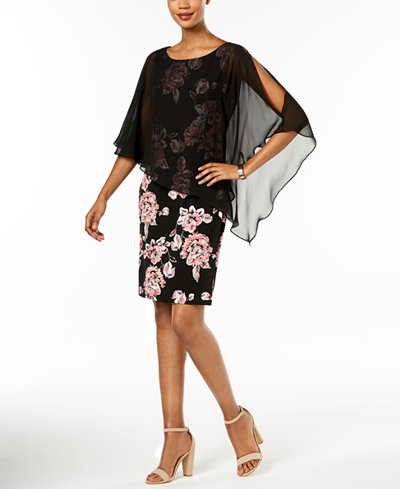 Connected Floral-Print & Chiffon Cape Dress