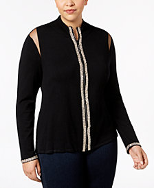 Belldini Plus Size Mesh-Inset Zip-Front Cardigan