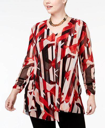 Alfani Plus Size Printed Asymmetrical-Hem Tunic, Created for Macy's