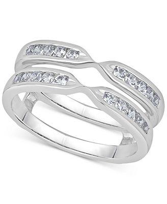 Macy S Diamond Channel Set Ring Guard 1 2 Ct T W In 14k White