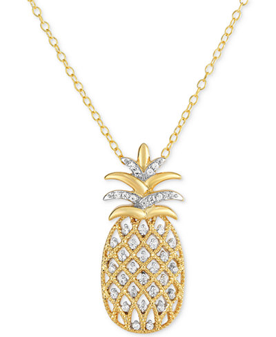 Diamond Pineapple Pendant Necklace (1/4 ct. t.w.) in 14k Gold over Silver