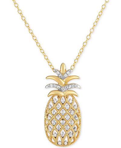 Diamond Pineapple Pendant Necklace 1 4 Ct T W In 14k