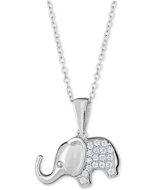 Macy S Diamond Elephant Pendant Necklace 1 8 Ct T W In