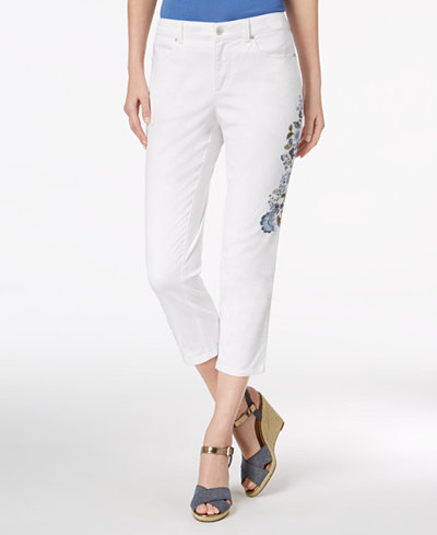 Charter Club Petite Embroidered Capri Jeans, Created for Macy's