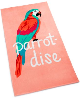 Parrot-Dise Cotton Graphic-Print Beach Towel, Created for Macy's
