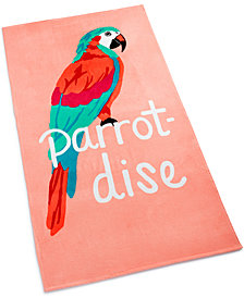 Martha Stewart Collection Parrot-Dise Cotton Graphic-Print Beach Towel, Created for Macy's