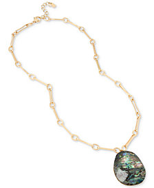 Robert Lee Morris Soho Gold-Tone Abalone Stone Pendant Necklace