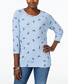Karen Scott Mixed-Print 3/4-Sleeve Sweatshirt, Created for Macy's