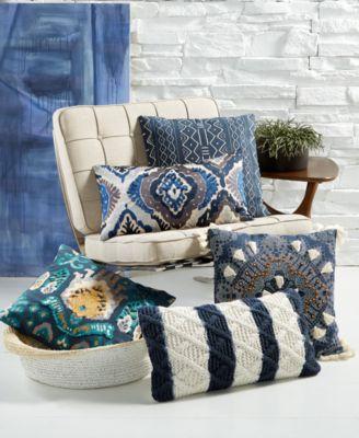 Lacourte LAST ACT! Globetrotter Blue Decorative Pillow