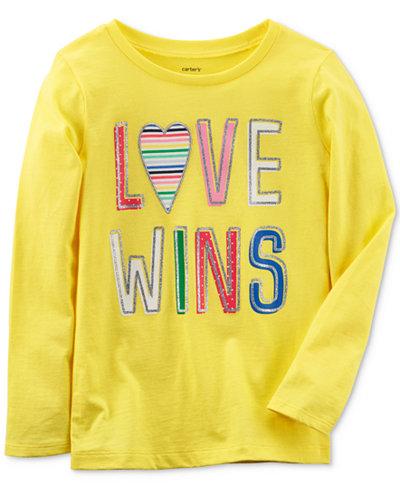Carter's Love Wins Long-Sleeve Cotton T-Shirt, Little Girls & Big Girls
