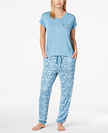Alfani Contrast-Pocket Pajama Set, Created for Macy's