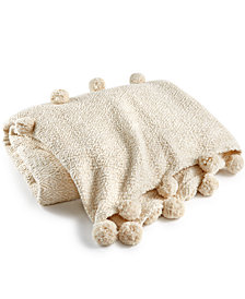 "LAST ACT! Lacourte Mardon Cotton Pom Pom 50"" x 60"" Throw, Created for Macy's"