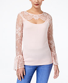 Thalia Sodi Lace-Bell-Sleeve Sweater, Created for Macy's