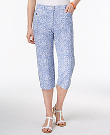 Karen Scott Petite Tile-Print Capri Pants, Created for Macy's