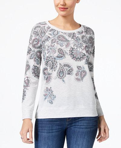 Style & Co Long-Sleeve Paisley-Print Sweatshirt, Created for Macy's