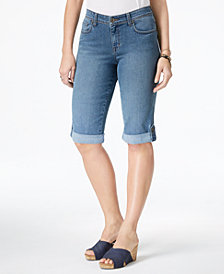 Style & Co Petite Cuffed Denim Skimmer Shorts, Created for Macy's