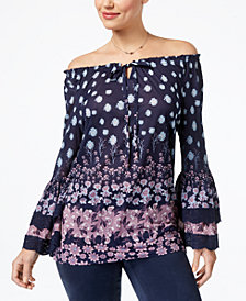 Style & Co Off-The-Shoulder Peasant Top, Created for Macy's