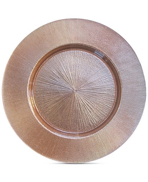 American Atelier Jay Import  Rose Gold-Tone Glass Charger Plate