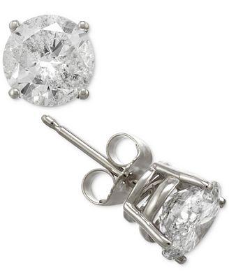 Macy S Diamond Stud Earrings In 14k Gold Or White Gold 2 Ct T W