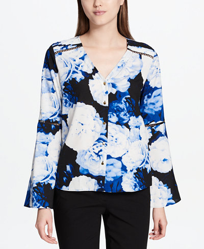 Calvin Klein Floral-Print Bell-Sleeve Blouse