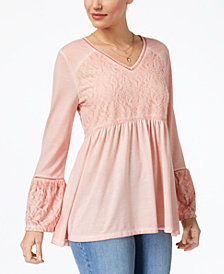 Style & Co Jacquard-Detail Peasant Top, Created for Macy's