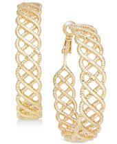 I.N.C. Gold-Tone Textured Woven Hoop Earrings, Created for Macy's