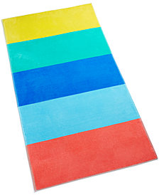 Martha Stewart Collection Colorblocked Cotton Beach Towel, Created for Macy's