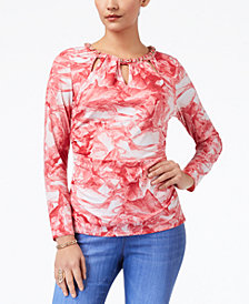 Thalia Sodi Embellished Cutout Top, Created for Macy's