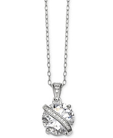 "Giani Bernini Cubic Zirconia Wrapped Pendant 18"" Necklace in Sterling Silver, Created for Macy's"