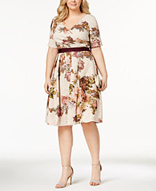 Adrianna Papell Plus Size Glitter Floral-Print Dress
